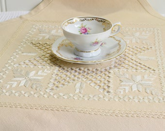 Small hardanger tablecloth, vintage Swedish dark beige embroidered doily