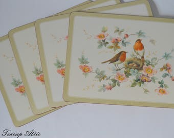 Set of 4 Pimpernel Place Mats in Original Box, Four Traditional Place Mats Robin And Roses Pattern, Hostess Gift,  ca. 1980