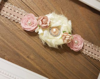 Blush Pink Rose Headband Baby Girl, Baby Girl Headbands, Newborn Headband, Infant Headband, Photo Prop Photography, Vintage Hair Accessories
