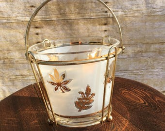 Vintage Frosted Glass Ice Bucket, G. Reeves Gold Leaves Bucket and Holder, Mid Century Barware, Cocktail Ice Bucket