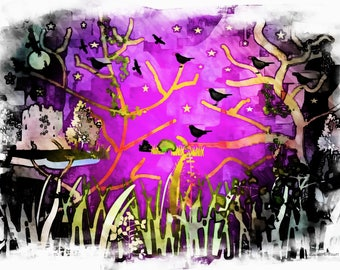 An Unusual Spooky Night a digital print with a smooth watercolor overlay