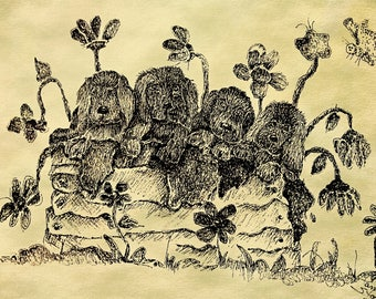 Sepia Sketch of puppies in a Planter box