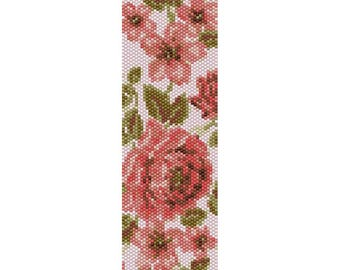 Old Roses Peyote Bead Pattern, Bracelet Cuff Pattern, Bookmark, Seed Beading Pattern Miyuki Delica Size 11 Beads - PDF Instant Download