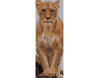 Lioness Peyote Bead Pattern, Bracelet Cuff Pattern, Bookmark, Seed Beading Pattern Miyuki Delica Size 11 Beads - PDF Instant Download