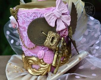 Pink/Gold Steampunk top hat - alice in wonderland - victorian - steampunk - cosplay - costume - photoshoot - tea party.