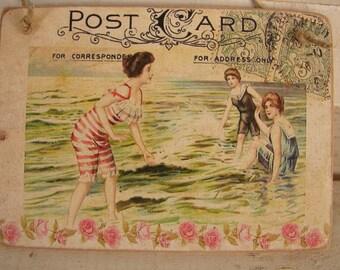 Shabby chic,seaside postcard,vintage style image sealed onto wood-ladies bathing vintage summer