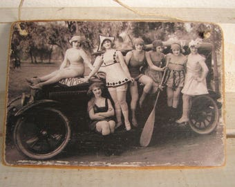 Victorian girls,Summer outing with car, cabinet photo image on shabby chic wooden tag,door hanger