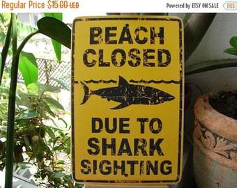 CLEARANCE SALE 15% OFF Shabby chic beach closed, shark sighting, vintage style image sealed onto wood.Fun Summer vintage ephemera.