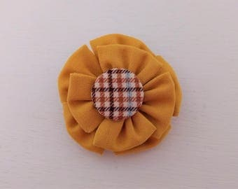 Men's Lapel Pin with Yellow Fabric Flower and Covered Button Center