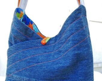 Purse, Shoulder Bag, Denim Purse,Upcycled Denim Bag , Shoulder Bag, Cloth Bag, Medium Purse, Medium Bag, Repurposed Purse, Bag Again