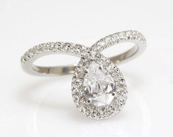 Pear Shaped Engagement Ring, Pave Diamond Ring, 14K White Gold Ring, Diamond Engagement Ring, Halo Ring.