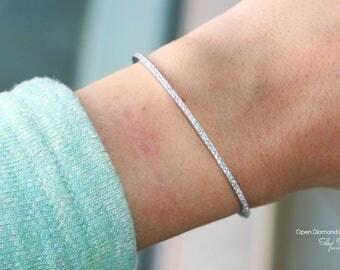 Pave Diamond Bracelet, 14K White Gold Bangle Bracelet, Solid Gold Bracelet, Anniversary Gift, Diamond Bangle, Tennis Bracelet