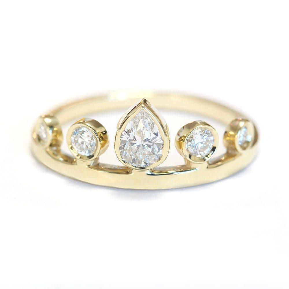 pear crown engagement ring unique engagement rings