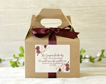 Burgundy & Blush  Will You Be My Bridesmaid Box / As I prepare for the day that I am to be / Medium Gable Box /  Bridesmaid Proposal /