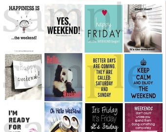 Weekend, #1-2, Quote, Planner Stickers, Friday, Saturday, Sunday, Polar Bear, Motivation, Full Box, ECLP, Plum Paper Planner