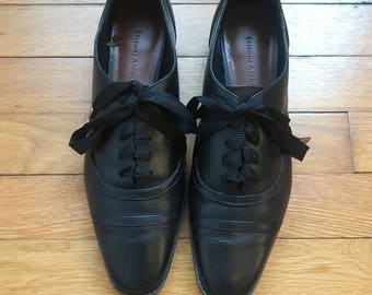 Black Leather Etienne Aigner Lace Up Oxford/Brogues 8