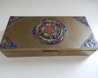 Chinese Brass & Cloisonne Enameled Box - 1930s Brass Box - Antique Chinese Box - Brass Tobacco Box - Champleve Box
