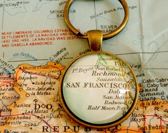 Custom map keychain etsy map keychain custom vintage maps anywhere in the world personalized gift sciox Images