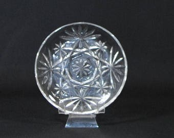 Vintage Pressed Glass Coaster, Star of David Pattern, EAP