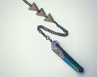 titanium quartz triangle necklace, crystal necklace, triangle necklace, geometric necklace, layering necklace, stone necklace, boho necklace