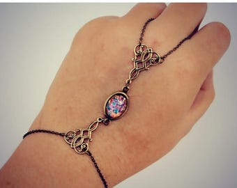 VACATION SALE hand chain, pink opal and filigree, opal hand chain, ring bracelet, slave ring, unique bracelet, opal ring, slave bracelet