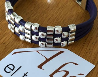 Purple and silver leather bracelet/purplebracelet/silverbracelet/perfectgift/fashionbracelet