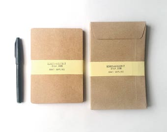 "Set of 25 Kraft Paper Blank Postcards with Round Corner Size 4.1x6"" inch and 25 Kraft Envelopes size 4.5x7"" inch"