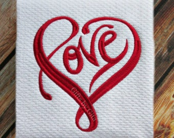 Embroidered 'LOVE' towel,  pefect anniversary gift, or for weddings or valentine's day