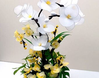 Handmade Nylon Flowers,  White and Mini Yellow Orchids Arrangement, Craft Flowers, Nylon Flowers,  Wedding décor, Unique Artificial Flowers