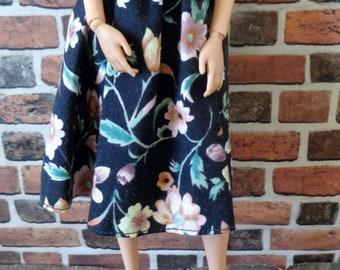 Vintage Print Floral Midi Skirt for Barbie or similar fashion doll