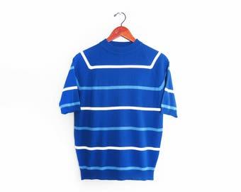 vintage t shirt / striped t shirt / striped mock neck / 1960s blue striped mock neck sweater shirt Medium