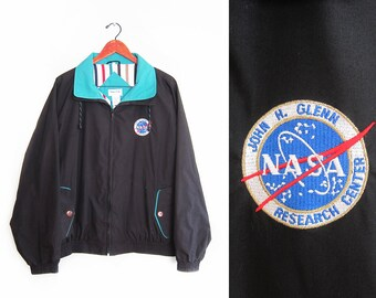 vintage windbreaker / NASA jacket / 90s windbreaker / 1990s black NASA embroidered windbreaker Large