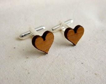 FIVE PAIRS of cufflinks - love heart cufflinks - wedding cufflinks - Wood Cufflinks - groom cufflinks - groomsmen cufflinks