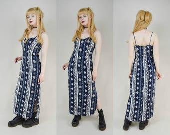 90s Grunge Navy Blue Stripey Floral Batik Summer Tank Maxi Dress S