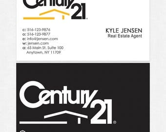 no photo Century 21 real estate business cards - thick, color both sides - FREE UPS ground shipping