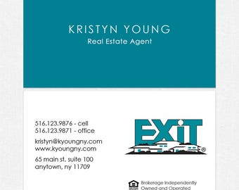 no photo EXIT real estate business cards - thick, color both sides - FREE UPS ground shipping
