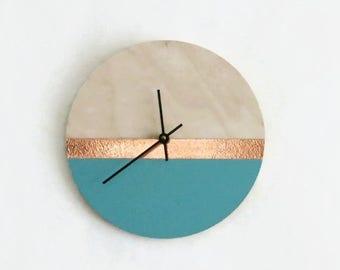 Wall Clock, Aqua & Copper Birch Wood Clock, Housewares, Home and Living, Unique Wall Clock