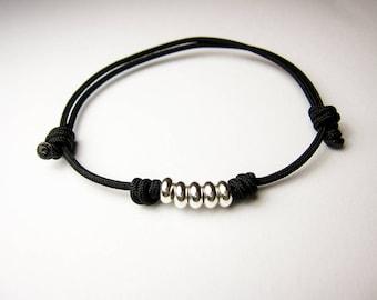 Black String Bracelet, Minimalistic Bracelet, Mens Bracelet, Unisex Bracelet, Adjustable bracelet, Simple Knot Bracelet, Single String