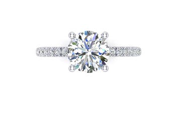7.5mm round moissanite and 0.28ct diamond engagement ring in 14k white gold,style 189WDM