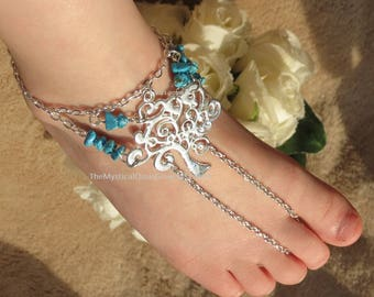 PAIR FITTED Baby Barefoot Sandals, Silver Baby Anklets, Turquoise Tree of Life Jewelry, Sized Body Jewelry Anklets for a Beach Wedding