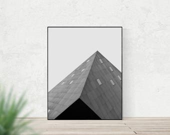Modern architecture photo | minimalist printable | Contemporary Jewish Museum San Francisco | geometric triangle art print | office decor