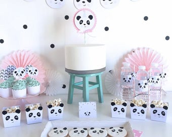 The little Panda Party - Pink , Panda Party Printable Set | Instant Download | Edit with Adobe Reader