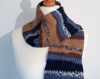 Child's Blue Striped Crochet Scarf