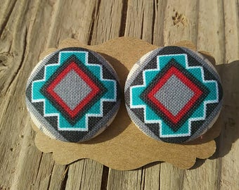 XLarge Native Design Button Earrings - Navajo Button Earrings - Fabric Button Earrings - Southwest Button Earrings - Luxie Creations