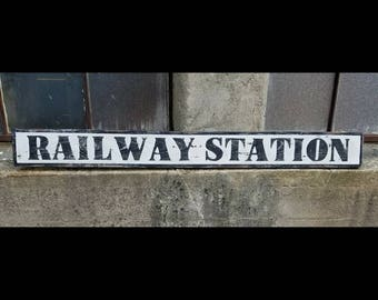 """Rustic """"Railway Station"""" Sign, vintage-style railroad advertising"""