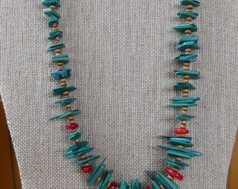 20 Inch Dark Green Magnesite Turquoise Slab and Coral Necklace with Earrings