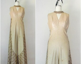 25% OFF SALE Vintage 1940s-1950s Gold Metallic Sequin Jumpsuit AS Is