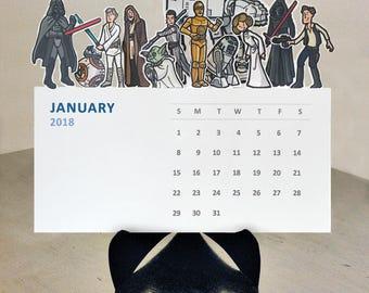 Star Wars Die Cut 2018 Illustrated desk calendar