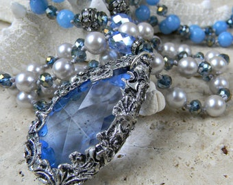 Grand Victorian Seaside -Victorian Crystal and Pearl Necklace - Long Hand Knotted Pearl Necklace Boho Glam - Blue Grey