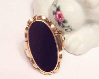 Onyx Ring, 14K Gold Ring, Art Nouveau Vintage Jewelry SUMMER SALE